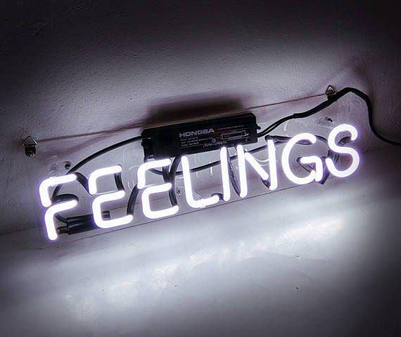 """Handmade 'Feelings' Wedding Art Banner Room Decor Beer Bar Neon Light Sign 14""""x3"""""""