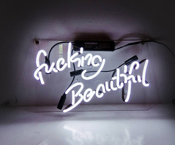"Handmade 'Fucking Beautiful' Wedding Art Light Banner Room Decor Neon Sign 14""x9"""