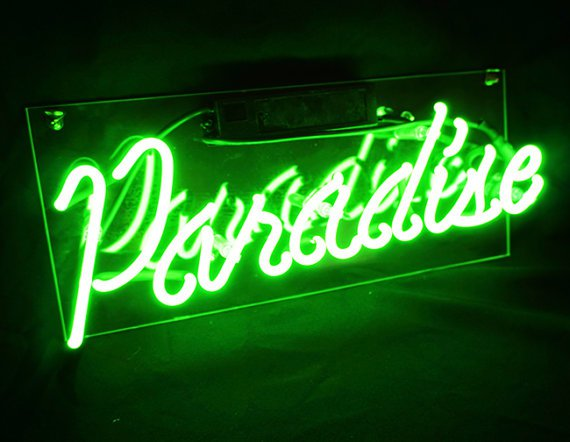 "Handmade 'Paradise' Wedding Beautiful Banner Art Light Neon Sign 14""x6"""