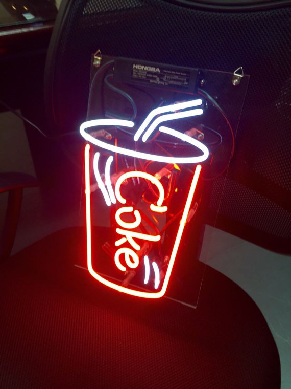 "Handmade Coke Soda Business Display Art Sign Handmade Neon Sign 11""x8"""