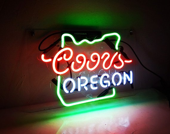 """New Coors OREGON Handcraft Home Wall Man Cave Lamp Art Sign Neon Sign 11"""" by 7"""""""