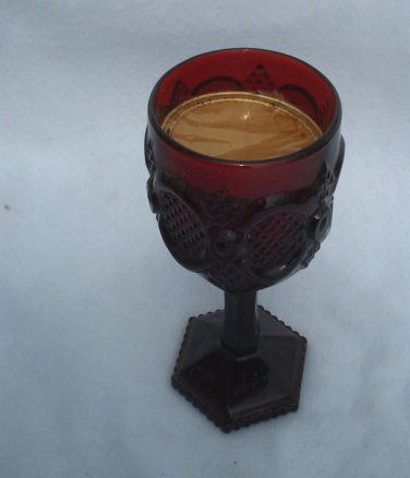 Avon 1876 Cape Cod Red Water Goblet Glass 6 Inch