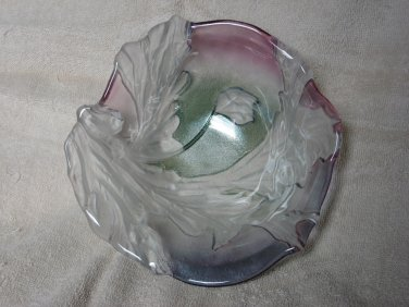 Mikasa Crystal Glass Bowl Multi Color Frosted Leaf Candy Dish