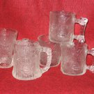 5 Flintstone Glasses Clear Texture RocDonalds USA France Mugs Cups