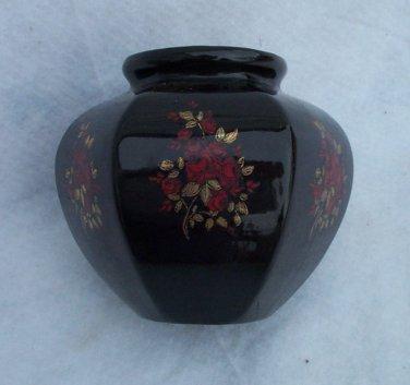 Vase Black Oriental Style Ceramic 6 Sided Asian Roses