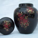 Black Ginger Ming Jar Oriental Style Asian Vase Roses 2 piece