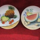 Hitomi Fruit Plates Hand Painted Hitomis Signed 8 inch