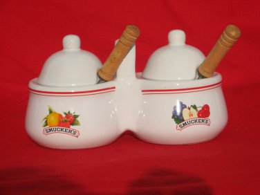 Smuckers Jam Jelly Ceramic Double Holder Lids Spoons