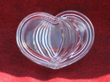 Clear Glass Heart Trinket Jewelry Box 4 Inch Pattern