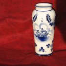 Blue White Nautical Ship Vase Ceramic 7 Inch Blue Floral