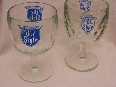2 Old Style Glass Goblets Pedastal Thumbprint Tankard Brew 6 Inch Tall