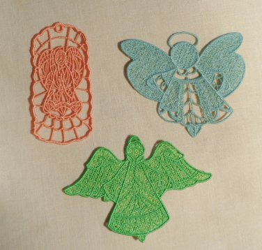 3 Mesh Lace Angel Ornaments Book Marks Gift Tags Stiffen