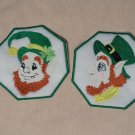 2 Irish Coffee Cup Mug Rugs St. Patrick Ornies Embroidered