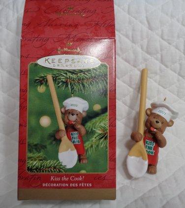 Ornament 2001 Kiss the Cook Bear Hallmark Keepsake