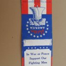 E.J. Miller War or Peace America Vintage 20 Strike Patriotic Matchbook Cover
