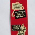 Tower View Restaurant Lake Placid Florida 20 Strike Matchbook Match Cover