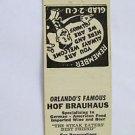 Hof Brauhaus Orlando, Florida German Restaurant 20 Strike Matchbook Match Cover
