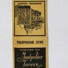 Montpelier Tavern Vermont 20 Front Strike Bar/Restaurant Matchbook Match Cover