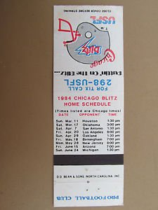 Chicago Blitz Football 1984 Schedule 20 Strike Vintage Sports Matchbook Cover