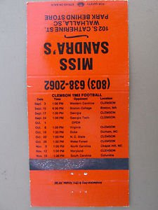 Clemson 1983 Football South Carolina 30 Strike Vintage SC Sports Matchbook Cover