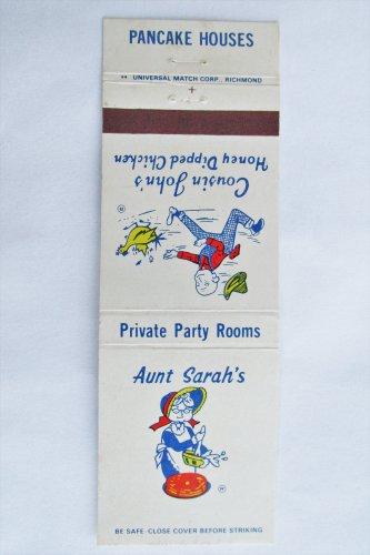 Aunt Sarah's Pancake House Virginia Restaurant 20 Strike Matchbook Match Cover