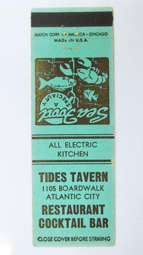 Tide's Tavern Restaurant Boardwalk Atlantic City New Jersey 20FS Matchbook Cover