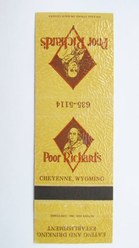 Poor Richard's Cheyenne, Wyoming Restaurant 20 Strike Matchbook Cover Matchcover