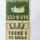 Young's Pit Bar-B-Q Restaurant Clearwater, Florida 20 Strike Matchbook Cover FL