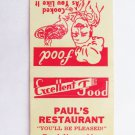Paul's Restaurant Waycross, GA Georgia 20 Strike Matchbook Cover Match Cover USA