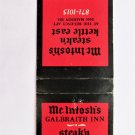 McIntosh's Steak'n Kettle Cincinnati, Ohio Restaurant 20 Strike Matchbook Cover