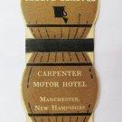 Carpenter Motor Hotel Manchester, New Hampshire 20 Strike DieCut Matchbook Cover