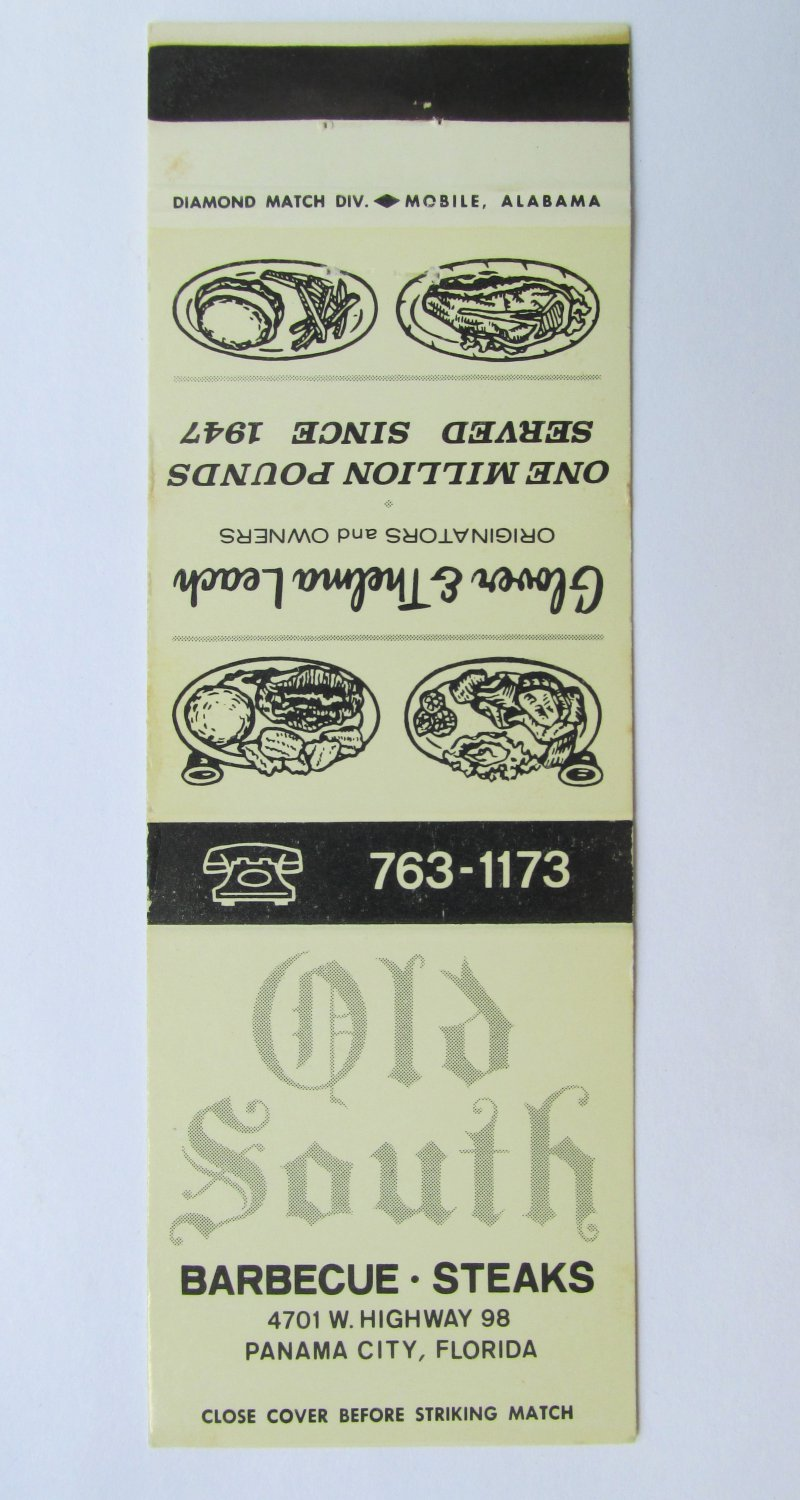 Old South Restaurant Panama City, Florida 20 Front Strike Matchbook Match Cover