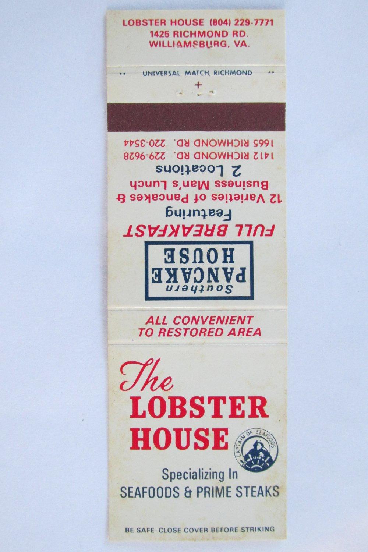 The Lobster House Williamsburg, Virginia 20 Strike VA Restaurant Matchbook Cover
