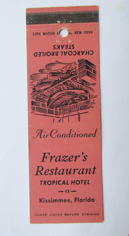 Frazer's Restaurant Tropical Hotel Kissimmee, Florida 20 Strike Matchbook Cover
