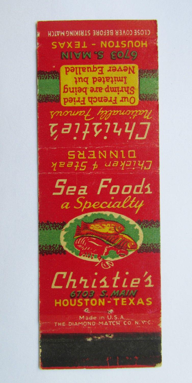 Christie's Restaurant Houston, Texas TX 20 Strike Matchbook Match Cover Sea Food