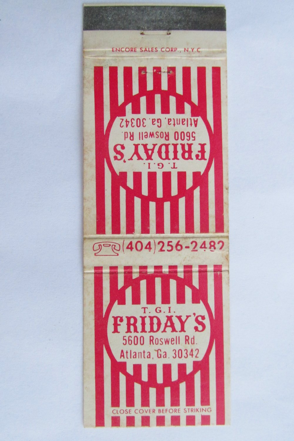 T.G.I. Friday's Restaurant Atlanta, GA Georgia 20 Strike Matchbook Match Cover