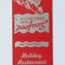 Holiday Restaurant Virginia Beach, VA - 20 Front Strike Matchbook Match Cover