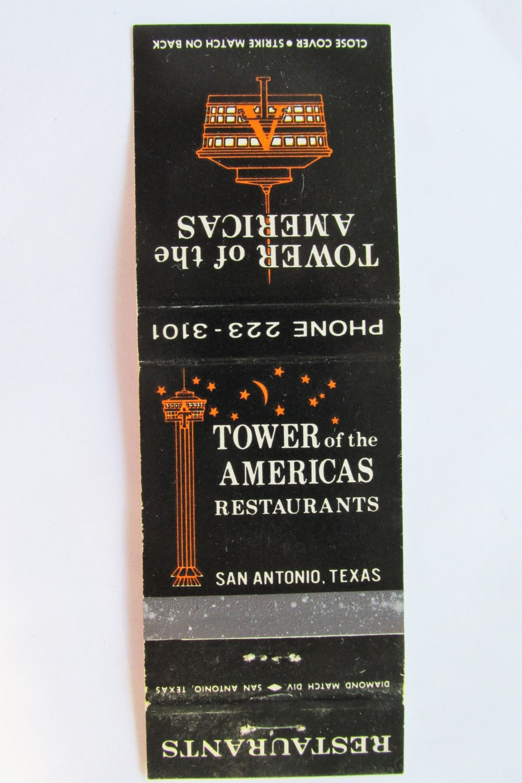Tower of the Americas Restaurant San Antonio, Texas TX 20 Strike Matchbook Cover