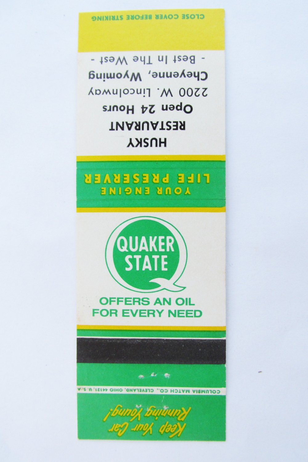 Husky Restaurant Cheyenne, Wyoming Quaker State Oil 20 Strike Matchbook Cover WY
