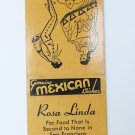 Rosa Linda Mexican Restaurant San Francisco California 20 Strike Matchbook Cover