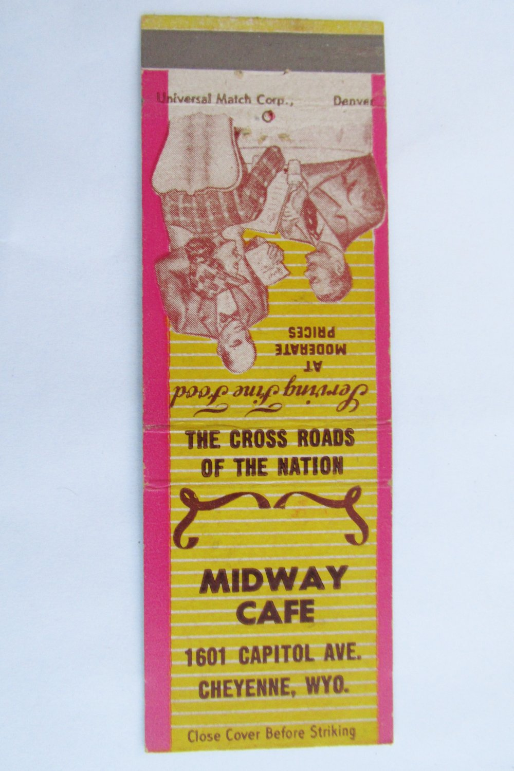 Midway Cafe Cheyenne, Wyoming Restaurant 20 Strike Matchbook Cover WY Matchcover