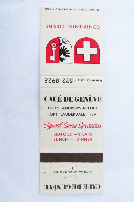 Cafe De Geneve Restaurant Fort Lauderdale, Florida FL 20 Strike Matchbook Cover