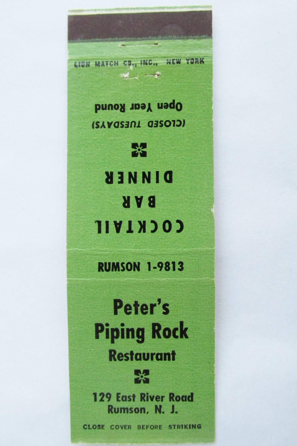 Peters Piping Rock Restaurant Rumson New Jersey NJ 20 Strike Matchbook Cover Map