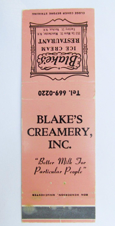 Blake's Ice Cream Restaurant Manchester, New Hampshire 20 Strike Matchbook Cover