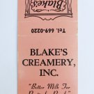 Blake's Ice Cream Restaurant Manchester, New Hampshire 20 Strike Matchbook Cover