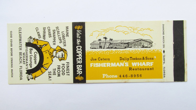 Fisherman's Wharf Restaurant Clearwater Beach, Florida 20 Strike Matchbook Cover