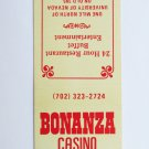 Bonanza Casino Reno, Nevada Restaurant 20 Front Strike Matchbook Match Cover