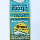 Vienna Restaurants Atlantic City New Jersey Restaurant 20 Strike Matchbook Cover