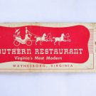 Southern Restaurant Waynesboro Virginia VA 20 Strike Full-Length Matchbook Cover
