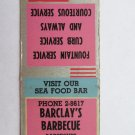 Barclay's Barbecue - Lancaster, Pennsylvania Restaurant 20 Strike Matchbook Cover